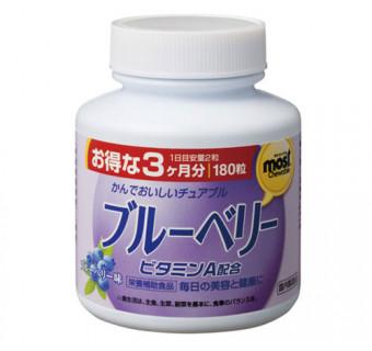 Жевательные таблетки с черникой и витамином А ORIHIRO (для улучшения зрения и снижения усталости глаз)